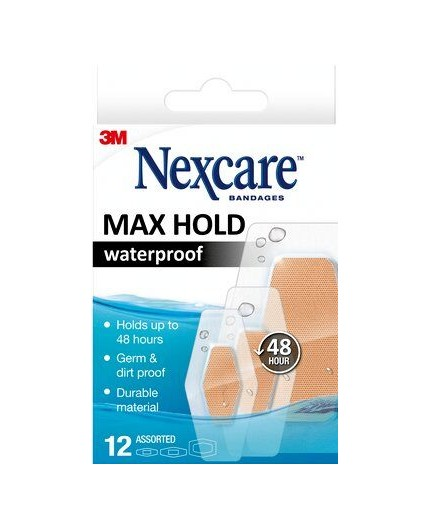 NEXCARE TIRAS MAX HOLD WATERPROOF 12 UDS