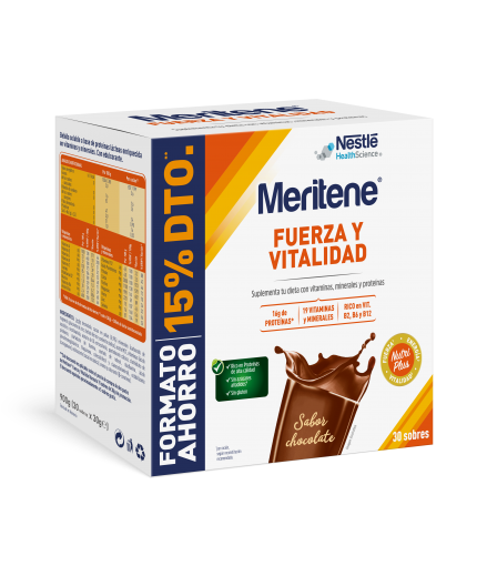 MERITENE BATIDO DE CHOCOLATE EN POLVO FORMATO AHORRO 30 SOBRES